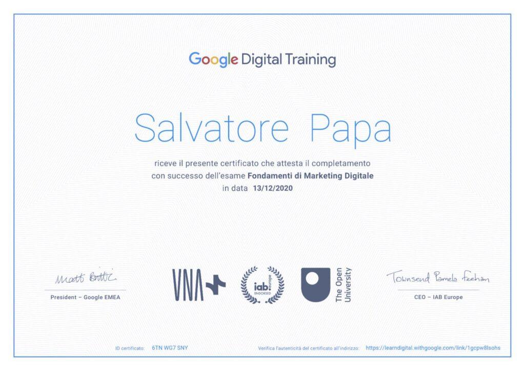 attestato-certificazione-google-salvatore-papa